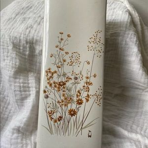 Il Coccio White/Orange Floral Ceramic Wall Pocket